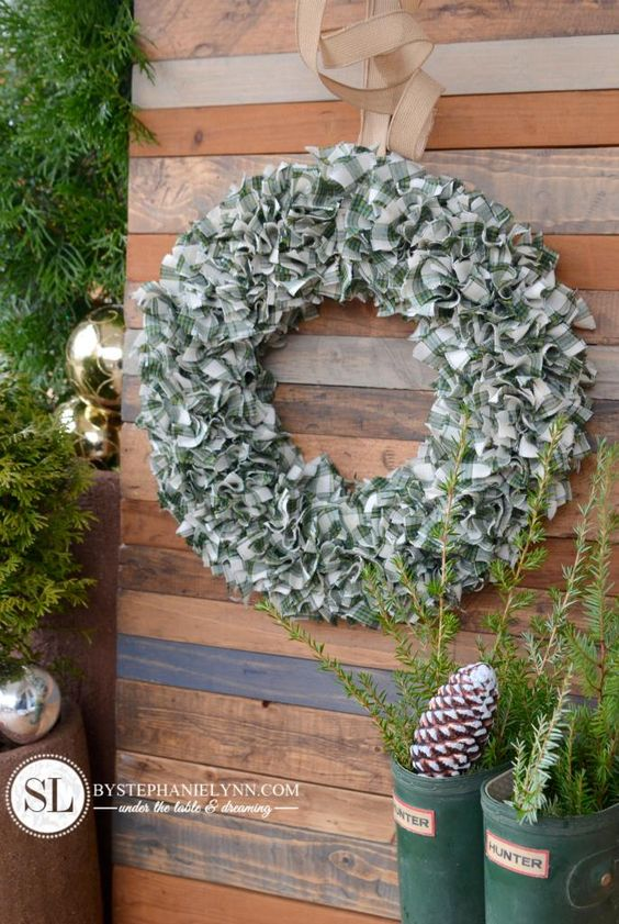 Plaid Fabric Wreath – How to Make a Rag Wreath | An incredibly easy handmade wreath for the holidays that can be made with any color or patterned fabric to coordinate with your holiday decor.  Requires just a few simple supplies to create … (no crafting experience necessary).
