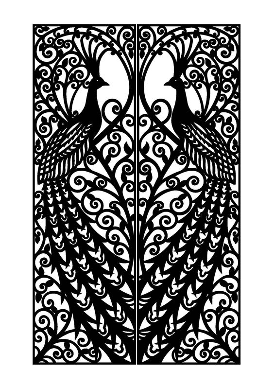 Steel doors and peacocks on pinterest for Door design cnc