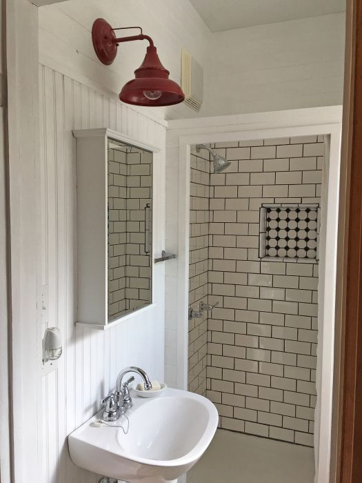 bathroom with white plank walls, red barn light, pedestal ... on red wallpaper bathrooms, red tile bathrooms, white design bathrooms,