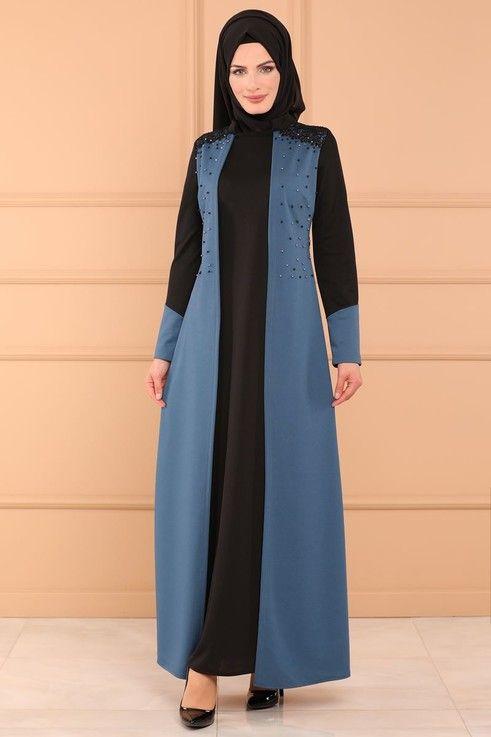 Modaselvim Bugune Ozel Yelek Gorunumlu Elbise Dnz571 S Indigo Moda Islamica Moda