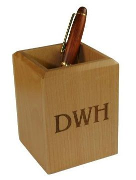 Monogrammed Wood Pen Holder