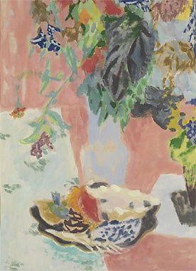 Jules Cavaillès - Bouquet au vase bleu et coupe de fruits, Not dated, Oil on paper - Jules Cavaillès Research Center