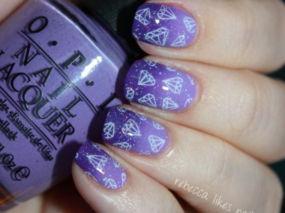Sparkling Amethyst Nails