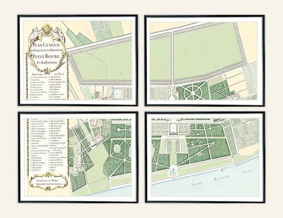 Set of 4 French Antique Garden Plan of Château de Petit-Bourg Archival Print on Watercolor Paper
