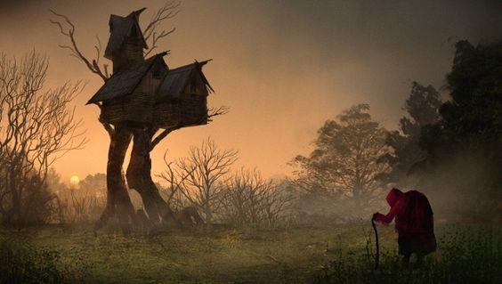 Baba Jaga o Baba Yaga - Creatura della mitologia e folklore Russo e Slava -- Nei racconti russi, impersona una vecchia strega che si sposta volando su un mortaio, utilizzando il pestello come timone e che cancella i sentieri nei boschi con una scopa di betulla d'argento.  Vive in una capanna sopraelevata che poggia su due zampe di gallina, servita dai suoi servi invisibili.    Antro della Magia