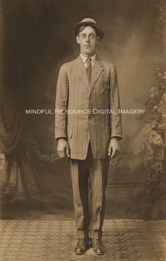 Dandy Vintage Photograp Men's Striped Suit Bowler Hat 1900s Cabinet Photo Sepia Digital Download by mindfulresource on Etsy