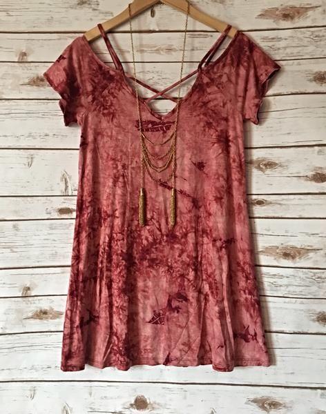 Red tie dye cold shoulder – Lainey Avenue Boutique