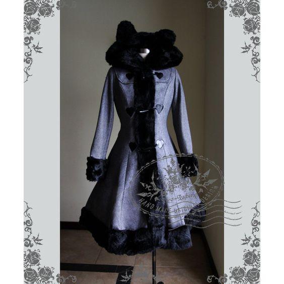 Cutie Gothic Sweet Lolita Bear Ears Hood Wool Coat Grey Lady 75... ($230) ❤ liked on Polyvore