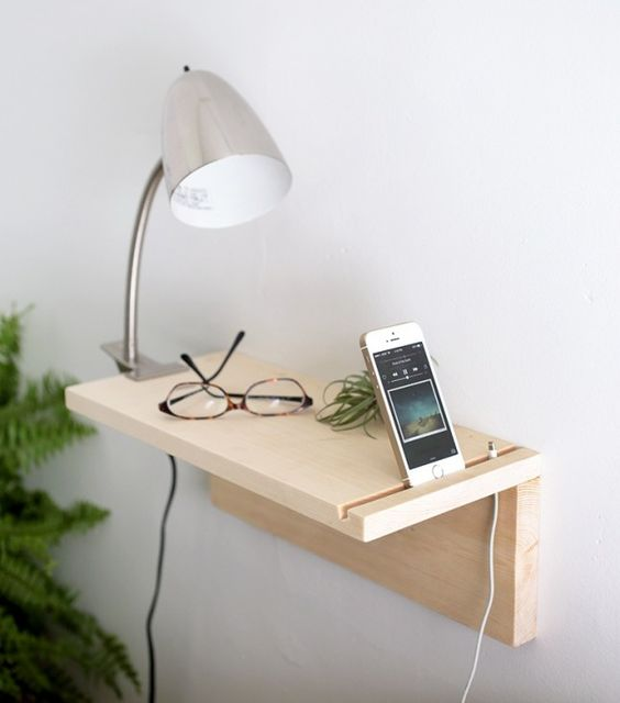 This floating nightstand is totally DIY.