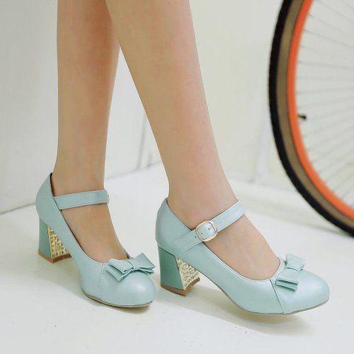 MissSaSa Damen süß Schleife Chunky heel Knöchelriemchen Pumps Blockabsatz Schnalle runde Spitze Pumps: Amazon.de: Schuhe & Handtaschen