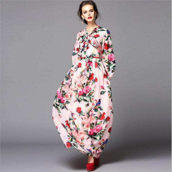 HIGH QUALITY Newest 2015 Women's Lartern Long Sleeve Sicilian Roses Print Runway Designer Maxi Dress Bohemian Party Long Dress alishoppbrasil
