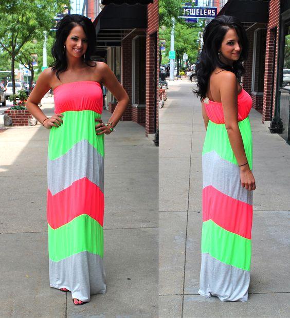 Neon chevron maxi dress!!