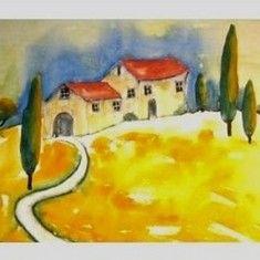 Bilder von Rosa | Aquarell Toskanalandschaft Format mit Passepartouts 50 x 70 cm Landschaft, Toskana, bild, kust, Malerei, wanddekoration, aquarell
