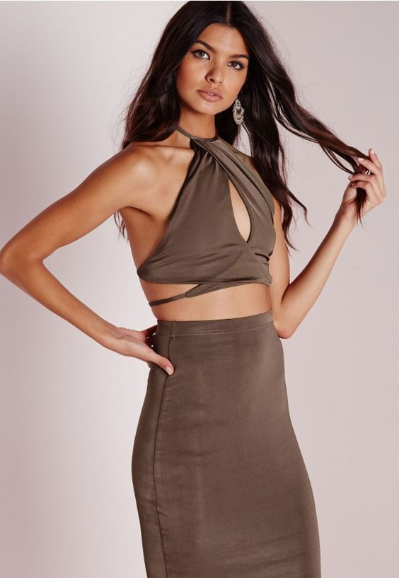 Slinky High Neck Wrap Front Crop Top Taupe - Slinky - Tops - Missguided