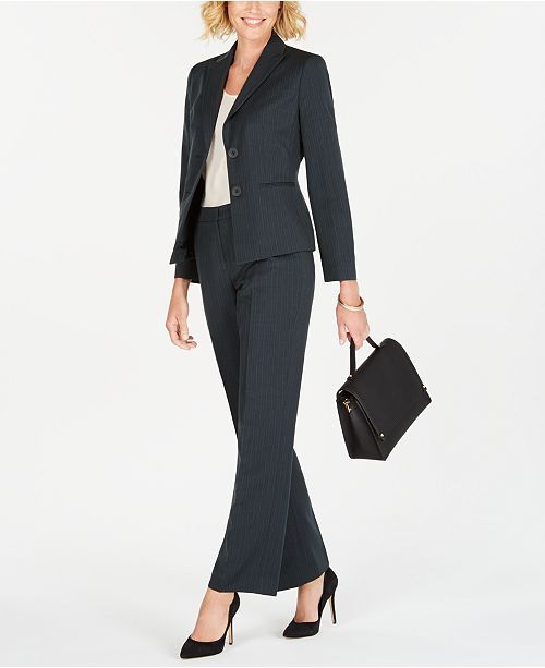Le Suit Womens Petites Two Button Wear-to-Work Pant Suit