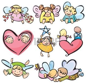butterfly star: Anges cute pour votre conception.