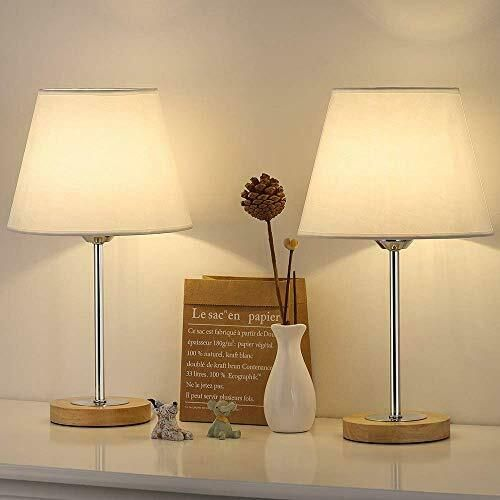 Small Table Lamps Set For Bedroom Wood Desk Lamp With