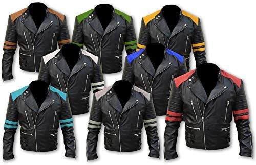 Men/'s Black Brando Classic Red /& Black Vintage Motorcycle Real Leather Jacket