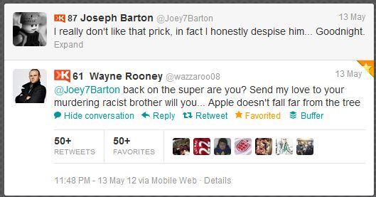 Joey Barton Wayne Roony Twitter argument: