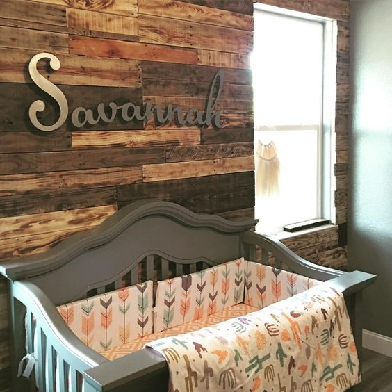 Transitional Nursery With Rustic Wood Wall: Aztec Nursery With Reclaimed Wood Pallet Wall