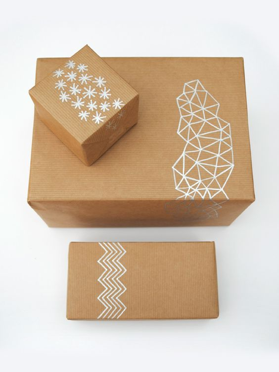 silver sharpie on plain paper = gorgeous wrapping. I love the geometric print on the middle box.