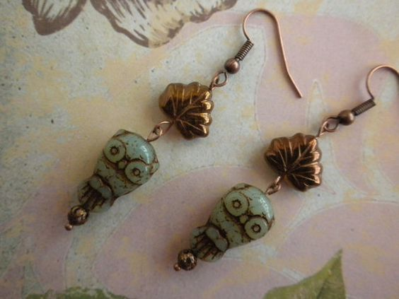 Owlfred under the Copper Leaf Dangle Earrings Mint by TheQuietbee, $17.00