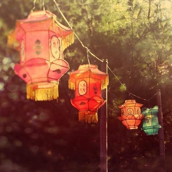 Paper Chinese Lanterns Glowing in Sunlight - Magic lanterns - Autumn, Fall Colors, End of Summer, Fine Art Print