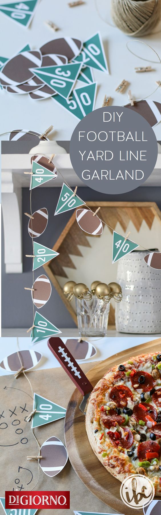 Taken from our partner @inspiredbycharm  playbook, use this tip for a fun game day garland at your next football party! Supplies: DIGIORNO Original RISING CRUST pizza, football & yard line printables, scissors, twine, mini clothespins. 1. Print/cut printables. 2. Cut football & yard line pendants. 3. Attach to twine using clothespins. 3. Bake DIGIORNO Original RISING CRUST pizza for about 20 minutes. 4. Hang garland or use as table décor. 5. Serve pizza & enjoy!: