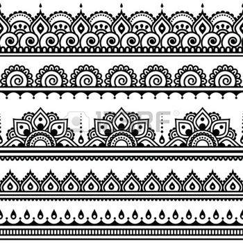 encaje: Mehndi, indio de la alheña tatuaje sin patrón, elementos de diseño