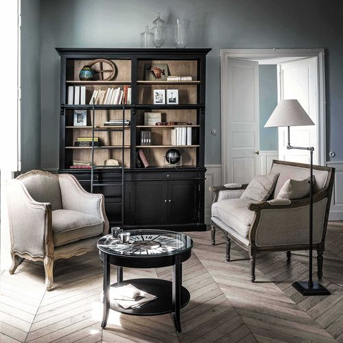 biblioth que avec chelle en bois massif noire l 201 cm. Black Bedroom Furniture Sets. Home Design Ideas