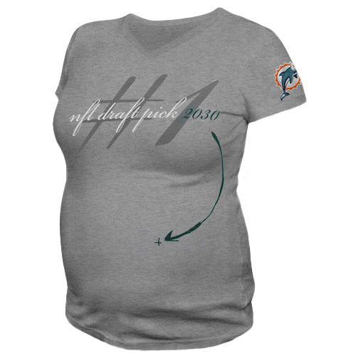 Reebok Miami Dolphins Maternity Draft Pick 2030 V-Neck T-Shirt - Ash