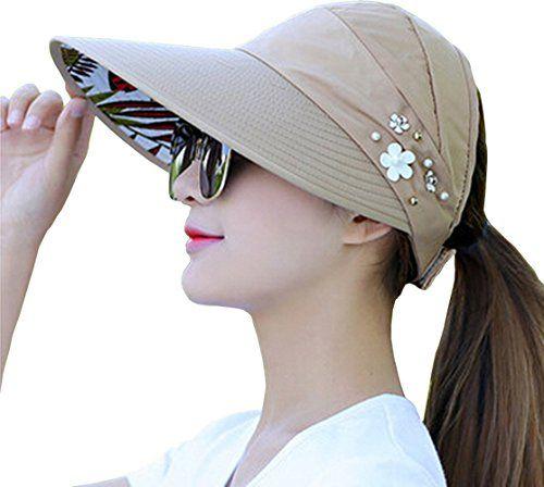 Summer Hats Beach Women Sun UV Protection Pearl Sun Visor Hat Wide Brim Caps