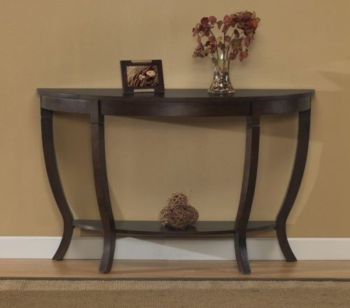 Half Round Moon Console Accent Sofa Table Espresso Finish