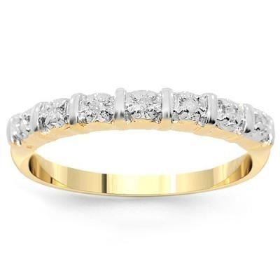 10K Yellow Solid Gold Womens Diamond Wedding Band 0.10 Ctw
