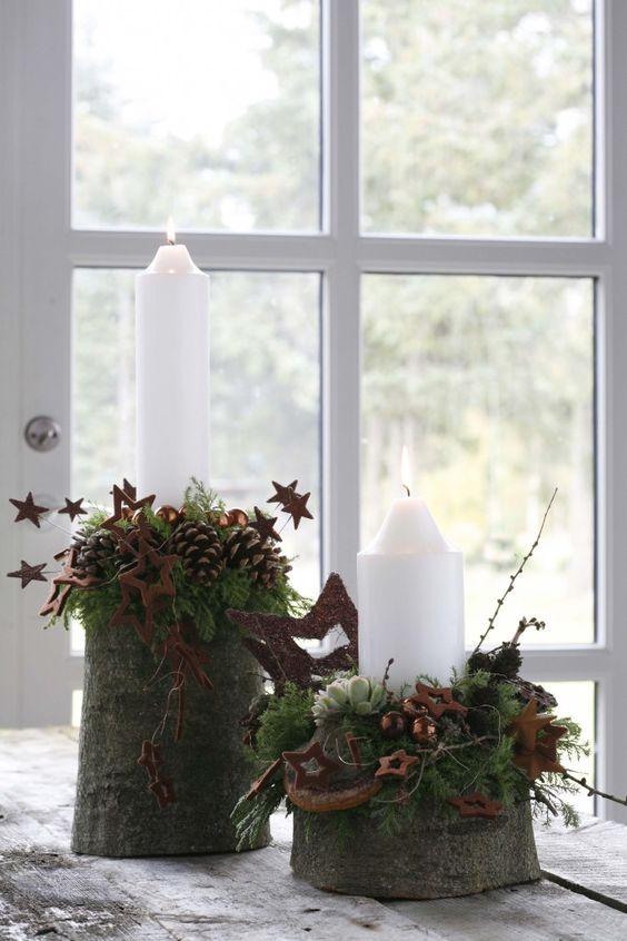 wei gr n und kupfer weihnachten winter pinterest weihnachtskerzen inspiration und kiefer. Black Bedroom Furniture Sets. Home Design Ideas