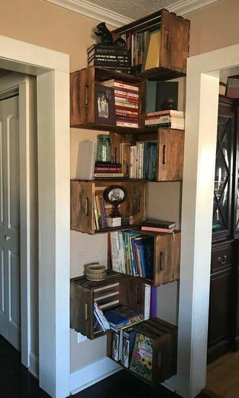 Lovely corner crates Bookshelf! in 2019 | Crate bookshelf ...