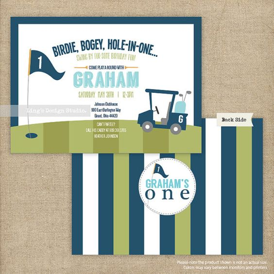 Hole In One Birthday Invitation/ First by LingsDesignStudio