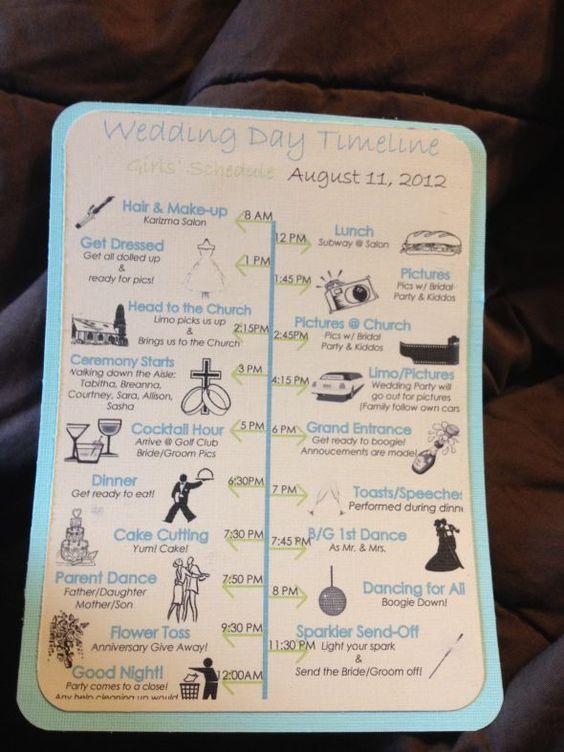 Wedding Timeline Schedule