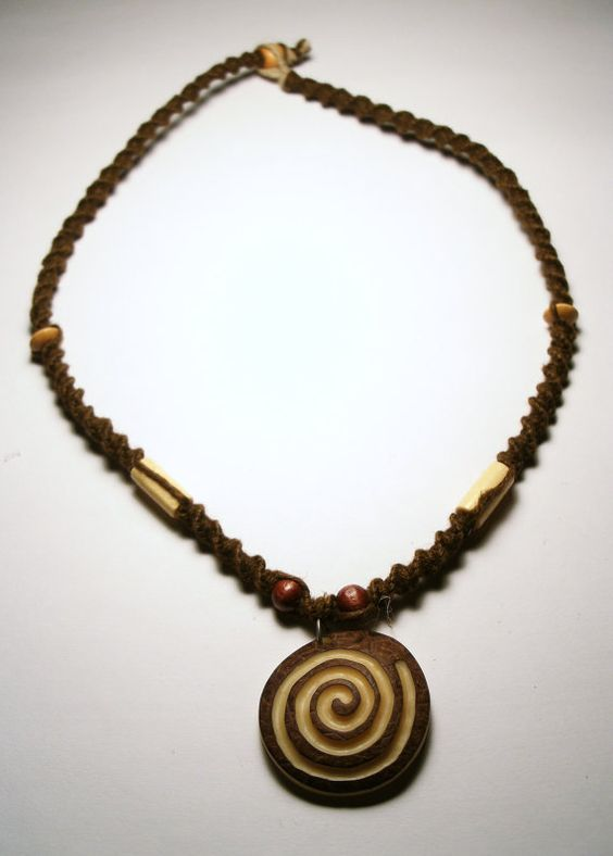 Handmade Carved Taqua Nut Spiral Hemp Necklace by NaturallyHemp, $15.00