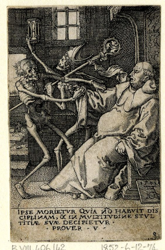 The Power of Death/ Allegory of Original Sin and Death  Print made by Heinrich Aldegrever   After Hans Holbein the Younger