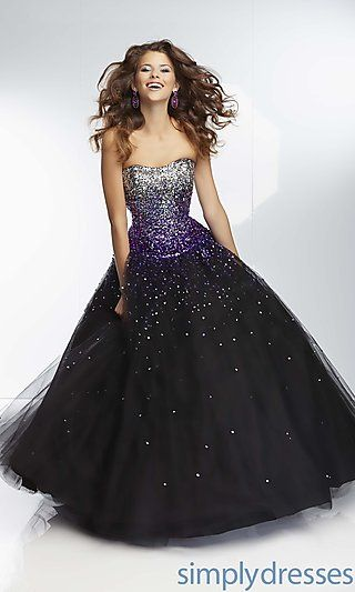Long Strapless Sweetheart Ball Gown by Mori Lee in Black/ Purple ...