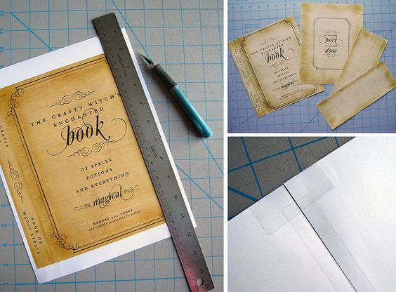Step 1. Download and print the spell book printable. Step 2. Cut and stick the sheet to an old unused book (get one at a garage sale) using double sided tape and/or modge podge. Step 3. place the covered books aroud and cove with fake cobwebs. Love this idea for a haloween party. So cute and cheap.