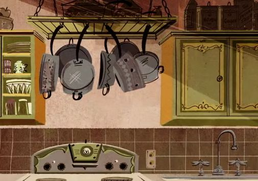 Great use of form and textures with detailing from linework on the pots and pans