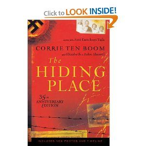 """The Hiding Place by Corrie Ten Boom -When the Nazis invaded Holland, Corrie ten Boom's quiet life turned into a nightmare. Because she made her home a """"hiding place"""" for Jews, she and her family were sent to a concentration camp. Refusing to despair, Corrie discovered how Jesus can turn loss to glory! This unforgettable story will move you to tears and to joy."""
