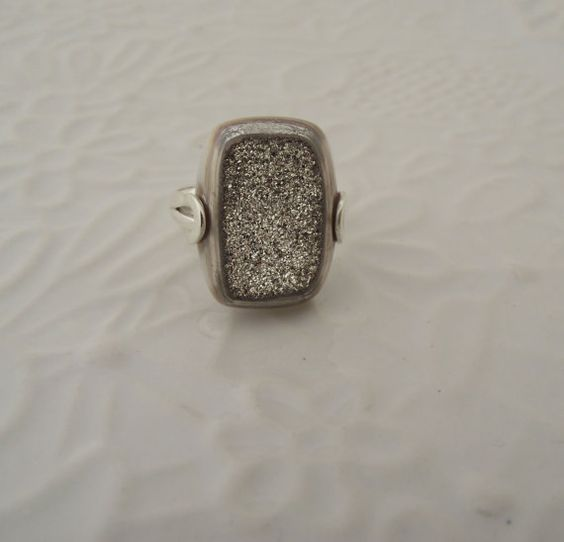 Pyrite Drusy Sterling Silver Ring---Size 8 $59