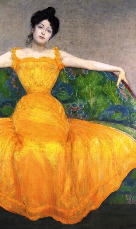 Woman in a Yellow Dress by Max Kurzweil (1867-1916), Austrian - co-founder of the Vienna Secession in 1897 (radstudies)