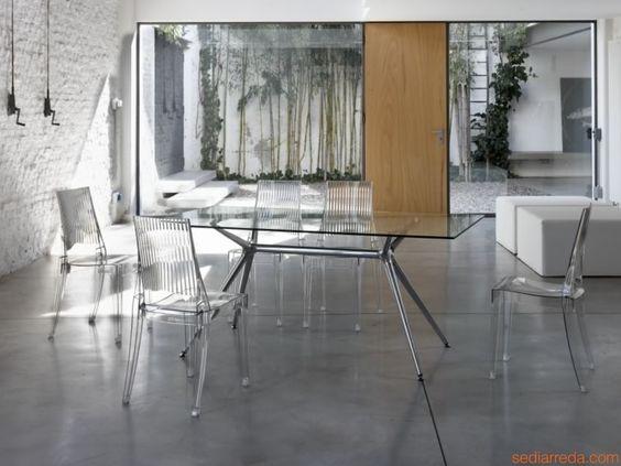 SC2407 METROPOLIS | Mesa de diseño tapa de cristal con sillas SC2360 GLENDA