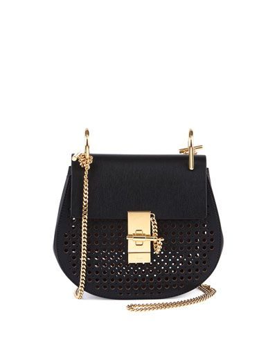 chloe replica shoes - Chloe Drew Perforated Mini Shoulder Bag in Black with Gold ...