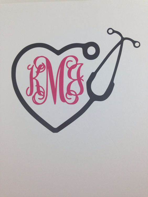 Monogram Car Decal, nurse or doctor stethoscope, laptop monogram decal on Etsy, $6.00