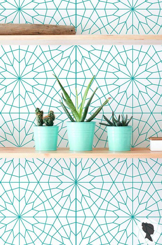 Geometric Pattern Wall Mural, Removable Self Adhesive Wallpaper - Z011